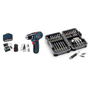 Bosch Professional 0.615.990.GB0 GSR 12V-15 12V System Perceuse-visseuse sans Fil – Édition Amazon Bleu & Coffret d'embouts et douilles Bosch 2607017164-43 pièces