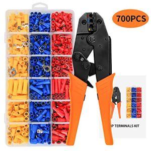 CHISTAR Pince à Sertir à Cliquet avec 700pcs Cosses Électriques, Cosses à Œillet, Cosses à Cylindrique, Cosses à Plate, Outil de Sertissage pour 0,5-1,5mm²/1,5-2,5mm²/4,0-6,0mm²