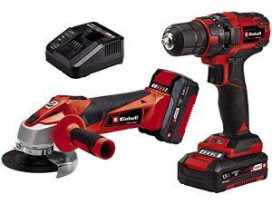 Einhell Kit d'outils TC-TK18LiKit PowerX-Change (lithium-ion, perceuse-visseuse TC-CD18/35Li+ meuleuse d'angle TC-AG18/115Li, avec batterie 1,5Ah et 3,0Ah)