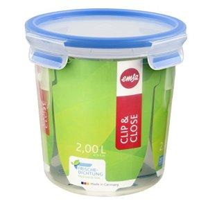 Emsa 508553 Boîte alimentaire ronde avec couvercle, 2.0 Litre, Transparent/bleu, Clip & Close