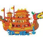 Yuhualiyi123 Dragon Boat – Kit De Construction, Casse-tête 3D, Bricolage Creative Assembly Jouets, Modèles De Papier, Jouets D'interaction Parent-Enfant (Color : HG-A014)