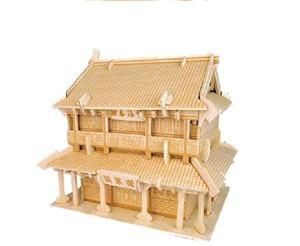 Yuhualiyi123 Pavillon-Construction en Bois, Puzzle 3D, Modèle De Construction Bricolage Décoration Cadeaux, Jouets D'interaction Parent-Enfant (Color : A)