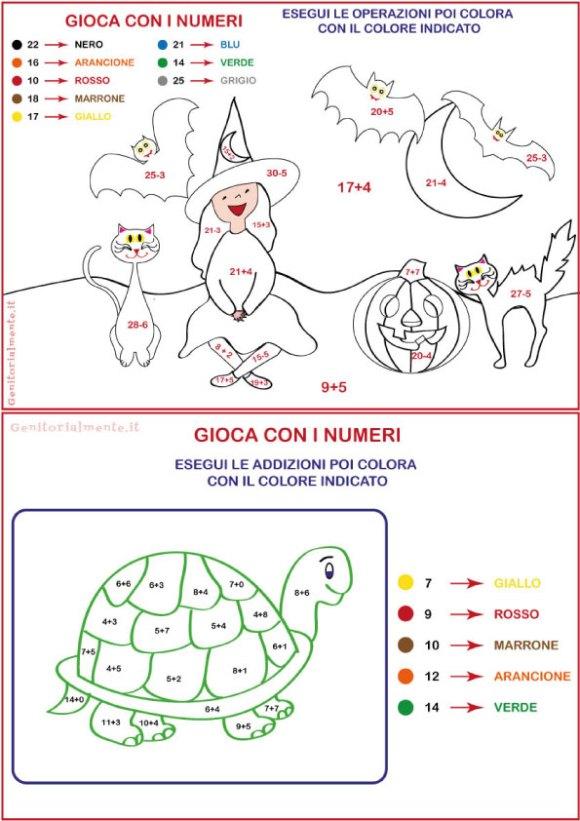 Disegni da colorare con operazioni | Genitorialmente