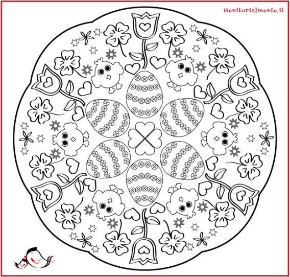 Mandala di Pasqua da colorare per bambini | Genitorialmente