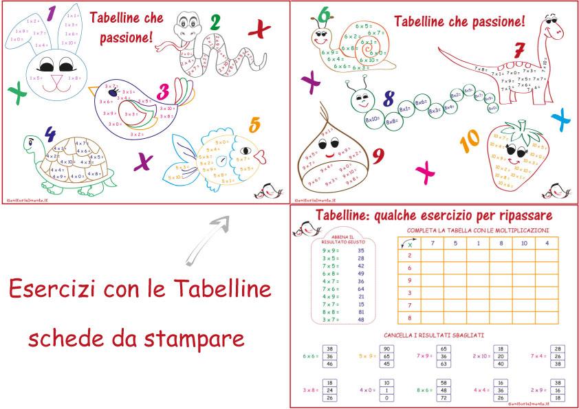 abbastanza con le Tabelline: schede da stampare | Genitorialmente XR65