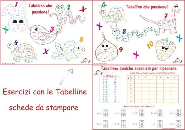 Esercizi con le Tabelline: schede da stampare | Genitorialmente