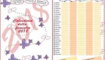 Calendario della famiglia 2020 da scaricare e stampare
