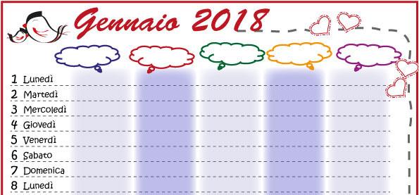 Calendario Della Famiglia 2018 Da Stampare Genitorialmente