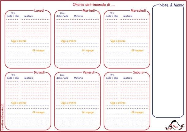 Orario scolastico settimanale da stampare + menù e impegni | Genitorialmente