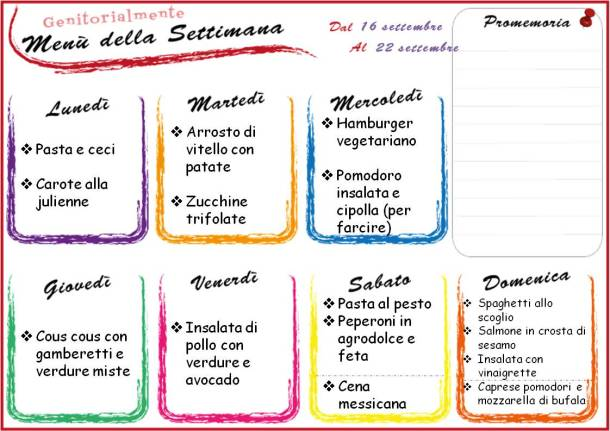 Idee per un menù settimanale sano con gusto | Genitorialmente