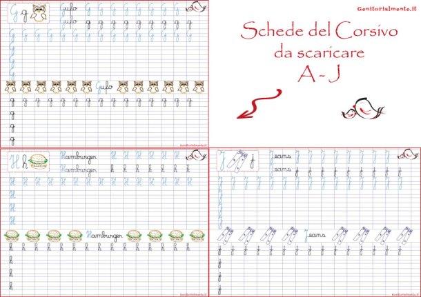 Schede del corsivo: copiare le lettere dell'alfabeto | Genitorialmente
