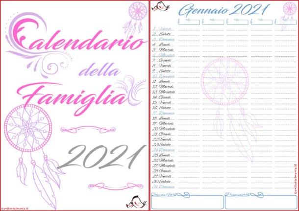 Calendario della famiglia 2021 PDF da scaricare e stampare | Genitorialmente