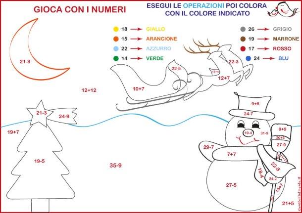Conta e colora con disegni di Natale: addizioni e sottrazioni | Genitorialmente