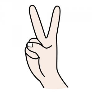 due dita alzate in segno di vittoria