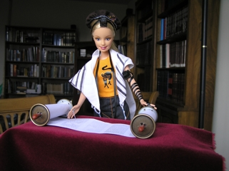 Barbie reading from the Torah