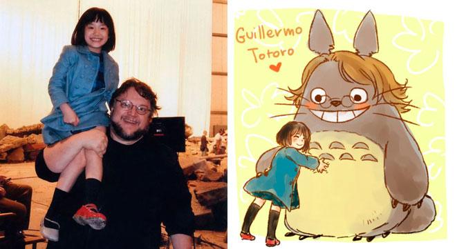 """O diretor Guillermo """"del Totoro"""", Mana Ashida, e uma das muitas fanarts."""