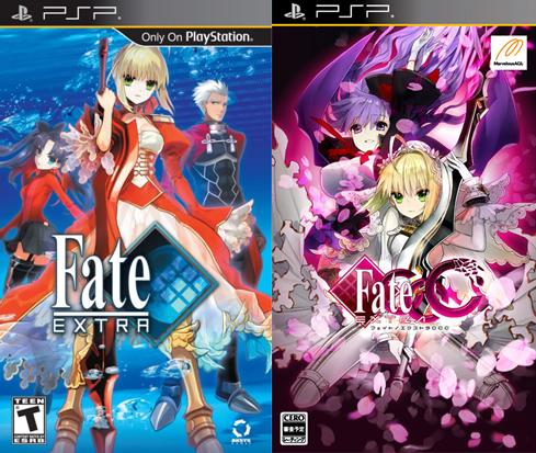Capa americana de Fate/EXTRA e capa japonesa de Fate/EXTRA CCC