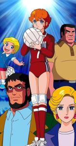 Mostra quarto personagens do anime Attacker You!. Ao centro a protagonista de uniforme de vôlei vermelho segurando uma bola