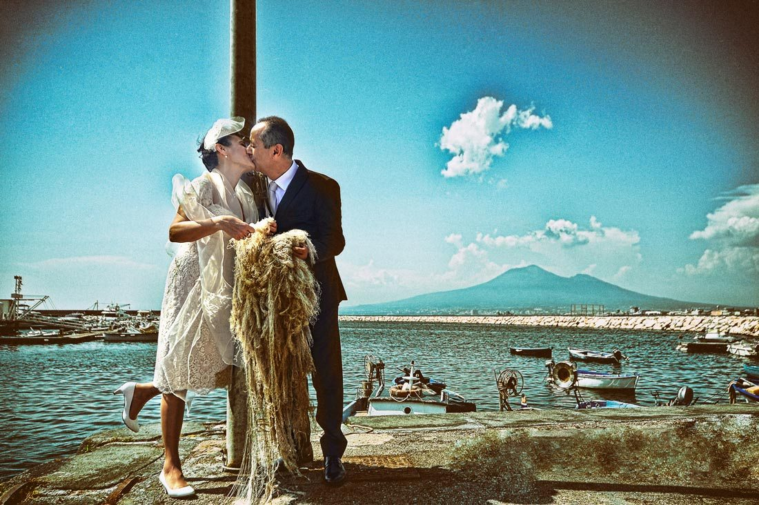 old fashioned sea wedding photo