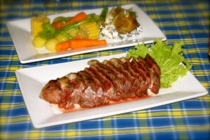 Raw slices of US Angus Beef with vegetable sidings