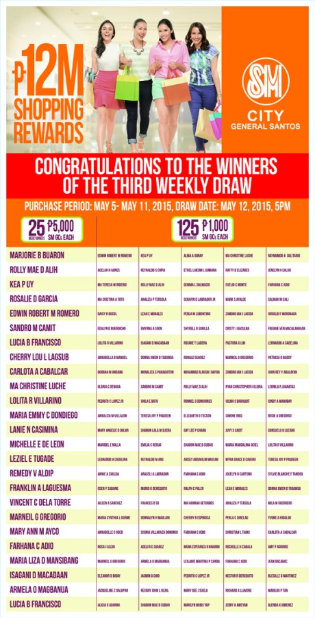 SM GENSAN 3RD WEEKLY DRAW WINNERS
