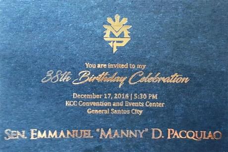 Pacquiao Invite for 36th Bday