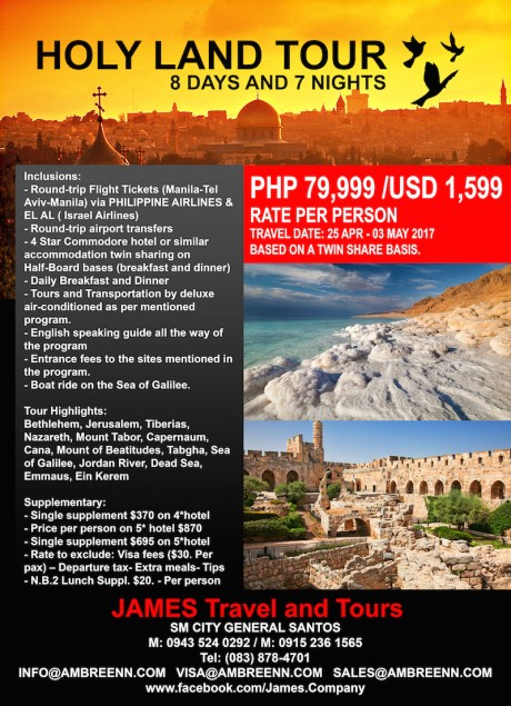 JAMES TRAVEL & TOURS' HOLYLAND PACKAGE
