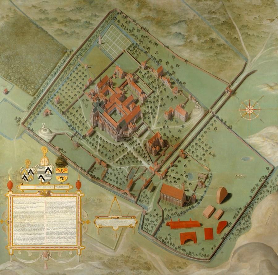 Plan van de Duinenabdij in Koksijde, 16de eeuw. Pieter Pourbus.