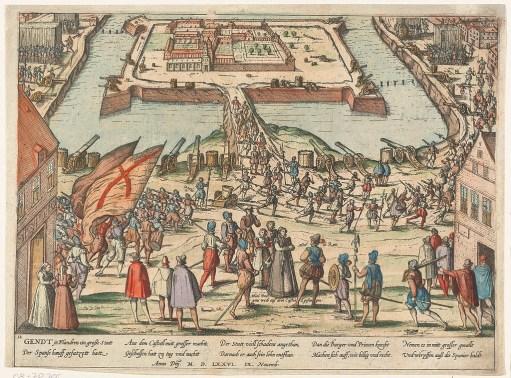 De aftocht van de Spanjaarden in 1576.