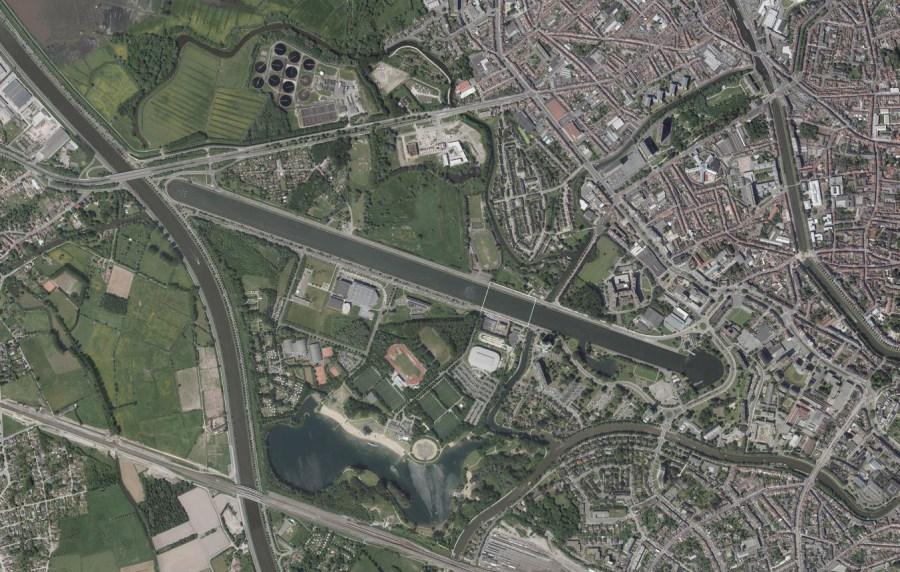 Luchtfoto Watersportbaan © GDI-Vlaanderen.