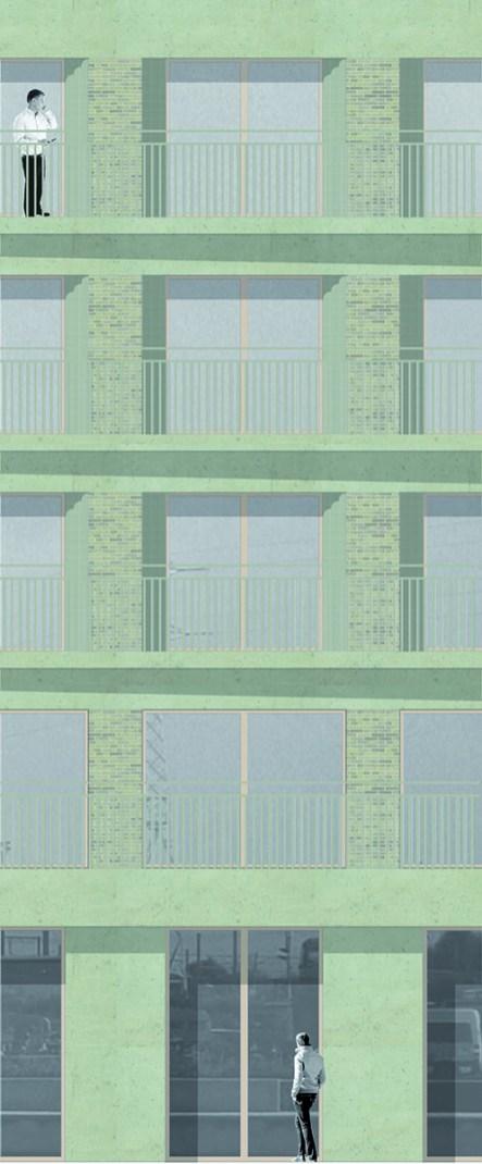 Detail van het metselwerk en de betonstroken in het torengebouw.