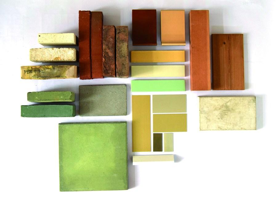 Een blik op het soort materialen en kleuren dat de ontwerpers willen toepassen.