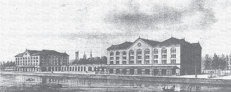 Louis Roelandt's oorspronkelijke ontwerp voor de pakhuizen. Er werd er maar één gebouwd. Toen die afbrandde, werd op de funderingen het huidige Handelsdokcenter gebouwd.