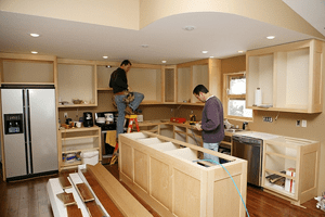 Danville Electricians work on wiring a new kitchen