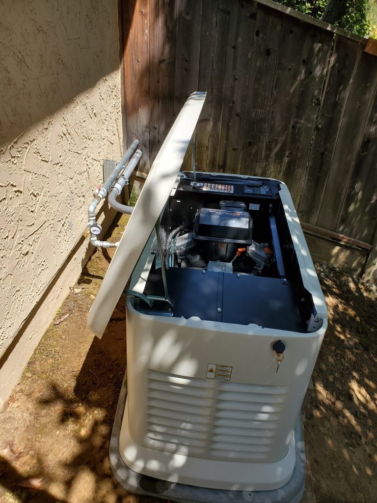 Generator Outside With Lid Open