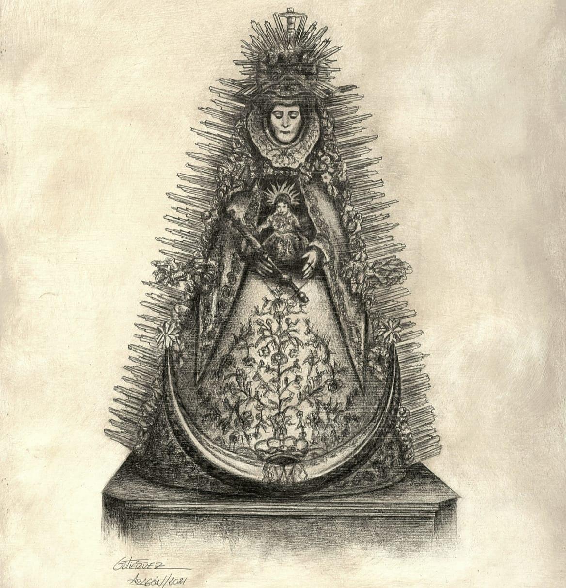 La Virgen del Rocío en los trazos de Pepillo Gutiérrez Aragón
