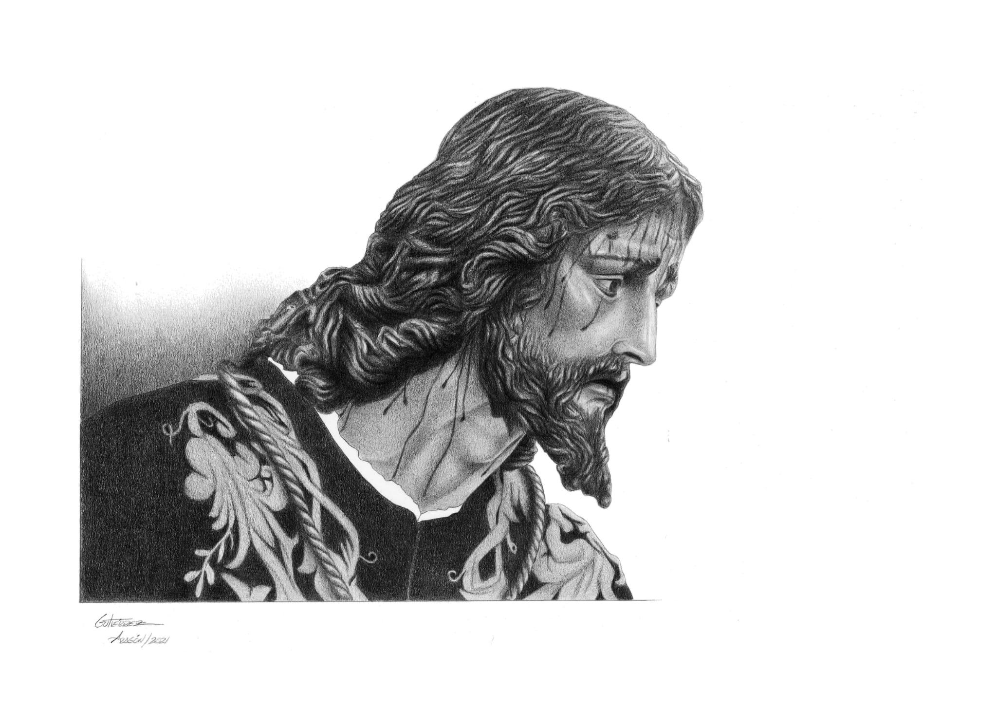 Pepillo Gutiérrez Aragón dibuja con maestría al Cristo de la Misión
