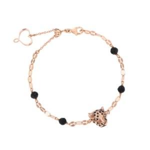Bracciale di catena con leopardo oro rosa e spinello