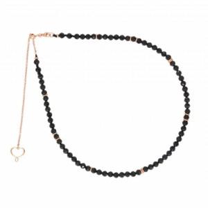 Collana girocollo in pietre di spinello di 4mm e cerchietti galvanizzati oro rosa