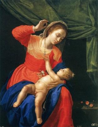 Vergine e Bambino con un Rosario