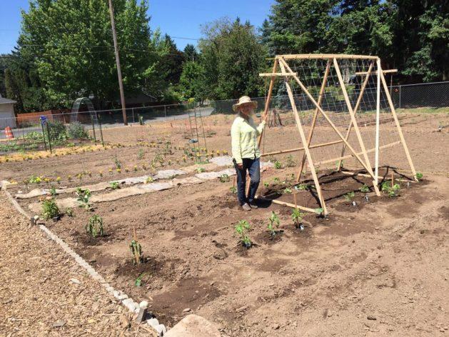 Stading beside the garden trellis I built