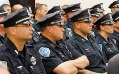 American police looking grumpy in black