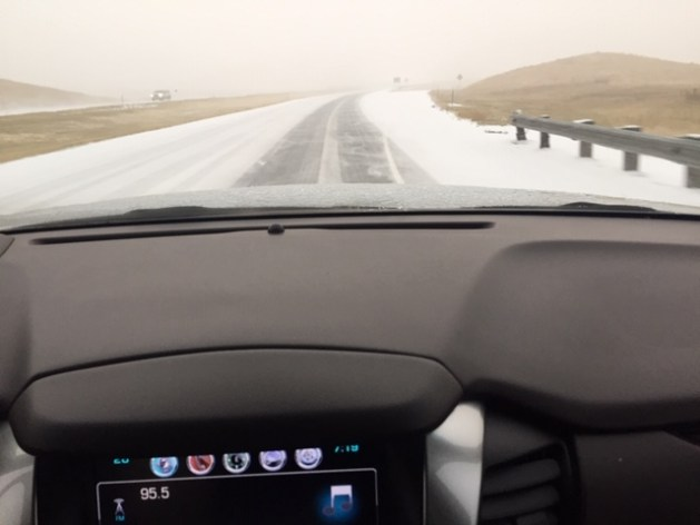 Driving in the snow out of Bozeman, Montana