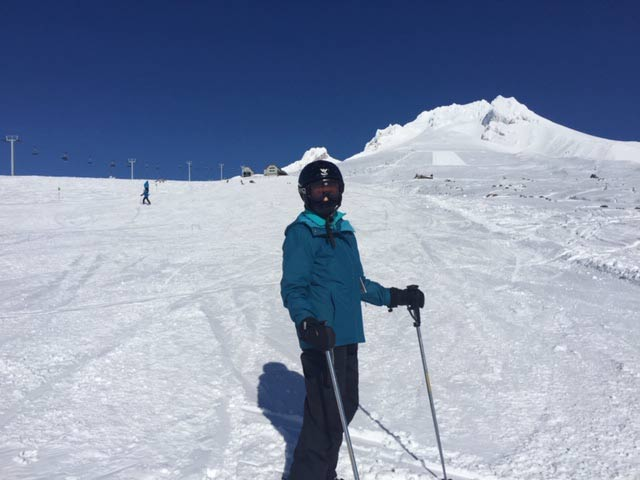 Me in my ski gear - every bit of me covered so no one could tell that I'm old. Only the tip of my nose shows. Love the picture because it makes me look thin!