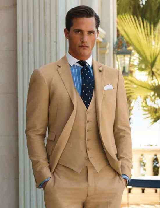 3 Piece flat front cotton suit with winchester shirt & Polka Dot Tie
