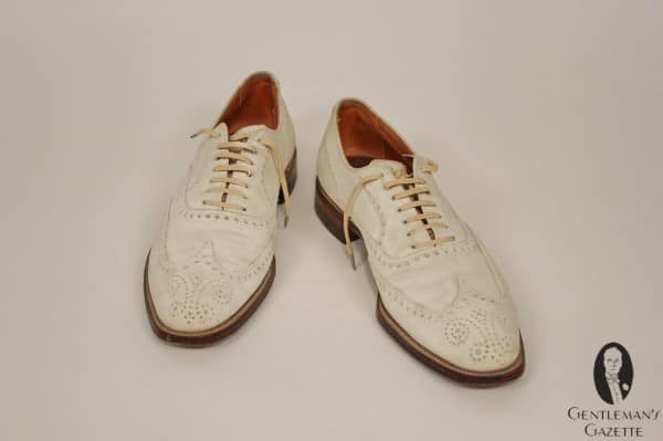 A full brogue buckskin summer shoe with leather sole & goodyear welt