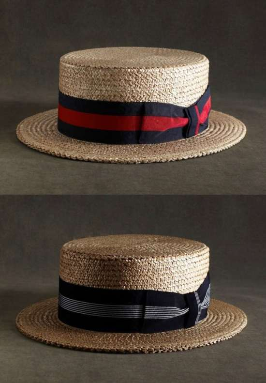 Boater Straw Hats with two ribbons