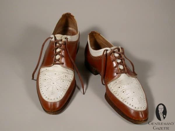 Interesting Norwegian style split toe derby spectator shoes by Ike Kempner Shoes for Truman