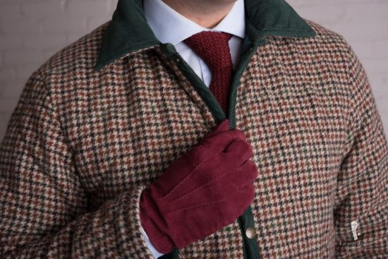 Quilted tweed jacket with burgundy suede gloves