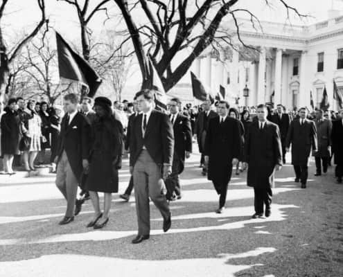 JFK funeral procession with morning coats